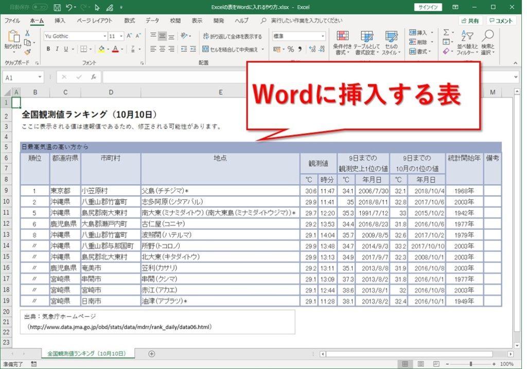 画像としてExcelの表をWordに入れるやり方
